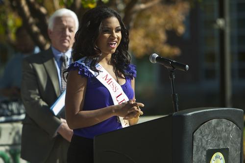 Chris Detrick  |  The Salt Lake Tribune Miss UVU Alisha Lee speaks outside of Sandy City Hall Tuesday October 9, 2012. October is National Domestic Violence Awareness month.