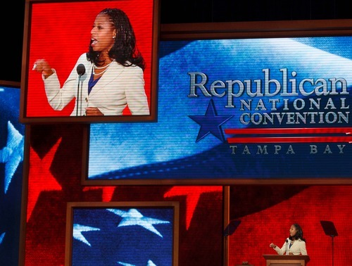 Trent Nelson  |  Tribune file photo Utah congressional candidate Mia Love speaks on the first day of the Republican National Convention in Tampa, Fla., last August.