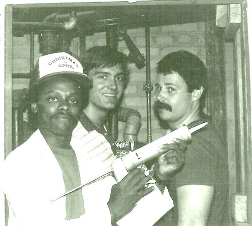 Courtesy photo Jim Matheson (center) participates in a home weatherizing service project in 1983 with colleagues from the lobbying firm Environmental Policy Center, Norris McDonald (left) and Jim Lyon (right). McDonald is now an environmental lobbyist in D.C. and Lyon is a vice president at the National Wildlife Federation.