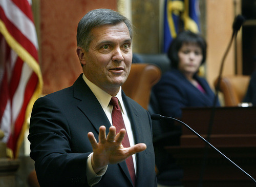Scott Sommerdorf  |  Tribune file photo U.S. Rep. Jim Matheson has been the only Utah Democrat in Congress for a dozen years. He's trying to extend that run this election in a close race with Republican Mia Love. In this file photo, Matheson speaks to the Utah Legislature.