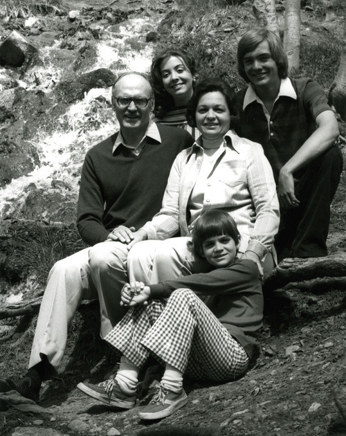 In this family photo, Gov. Scott Matheson poses with his wife, Norma, and children, Lu and Jim top row and Tom Matheson in forefront.  Courtesy image