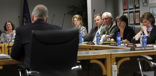 Al Hartmann  |  The Salt Lake Tribune The Utah State School Board interviews Michael Sentance of Concord, Mass., president of education reform strategies at private company The Tribal Group Monday October 8.  He was among three finalists the board interviewed to choose a new state superintendent of education.