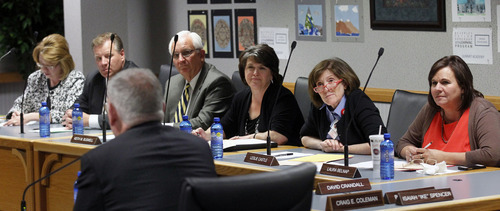 Al Hartmann  |  The Salt Lake Tribune The Utah State School Board interviews current state deputy superintendent Martell Menlove Monday October 8.  He was among three finalists the board interviewed to choose a new state superintendent of education.
