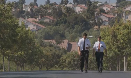 Courtesy photo Two missionaries walk down the street in a new BYUtv reality series The District. The series premiers on Sunday at 6:30 p.m. and is the first reality series to follow Mormon missionaries in the field.