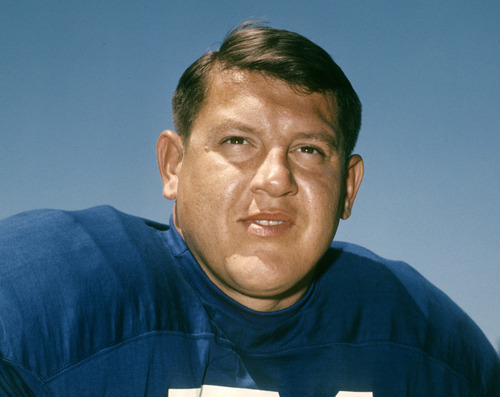 This 1968 photo provided by the NFL shows  Detroit Lions football player Alex Karras.  Karras, who gained fame in the NFL as a fearsome defensive lineman and later as an actor, has died. He was 77. Craig Mitnick, Karras' attorney, said Karras died at home in Los Angeles on Wednesday, Oct. 10, 2012, surrounded by family. (AP Photo/NFL Photos)