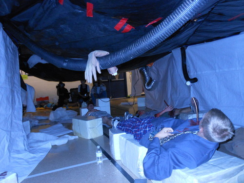 Emergency responders came upon a roomful of victims with differing injuries in a mock earthquake training drill that Grimm Brothers of Bluffdale put on recently for people from Salt Lake County and local municipalities. Courtesy of Salt Lake County
