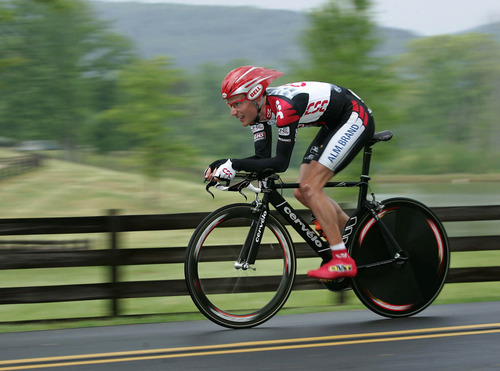 ROME, GA - APRIL 21:  David Zabriskie of the U.S. and riding for Team CSC rides in the individual time trial as he finished second during stage three of the Tour de Georgia April 21, 2005 in Rome, Georgia.  (Photo by Doug Pensinger/Getty Images)