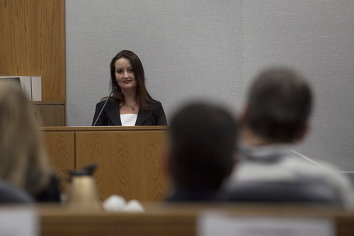 Mark Johnston | Daily Herald  Witness Gypsy Willis looks to defendant Martin MacNeill while on the witness stand during a preliminary hearing at the Fourth District Court in Provo Wednesday, Oct. 10, 2012.