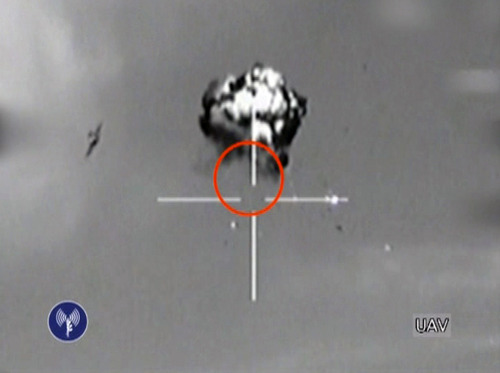 FILE - In this Saturday, Oct. 6, 2012 file image made from video released by the Israeli Defense Forces shows the downing of a drone that entered Israeli airspace in southern Israel, Saturday, Oct. 6, 2012. The leader of Hezbollah claimed responsibility Thursday, Oct. 11, 2012 for launching the drone aircraft that entered Israeli airspace earlier this week, a rare and provocative move by the Lebanese militants at a time of soaring regional tensions.(AP Photo/Israeli Defense Forces via AP video, File)