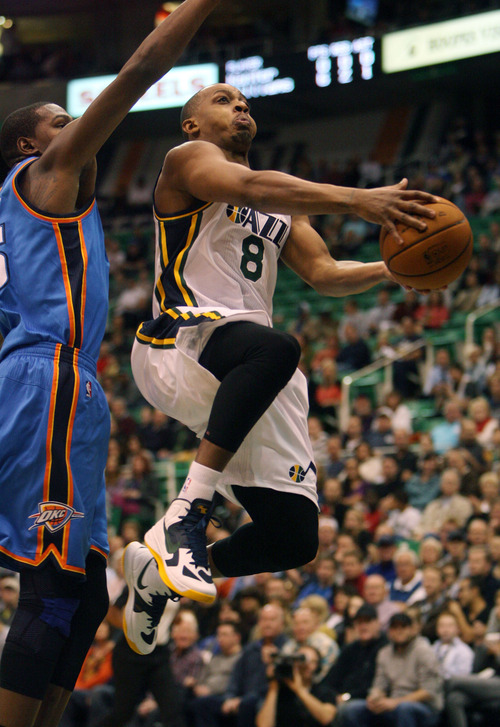 Steve Griffin | The Salt Lake Tribune   Utah's Randy Foye glides to the basket during first half action in the Jazz Thunder preseason game and EnergySolutions Arena in Salt Lake City, Utah Friday October 12, 2012.