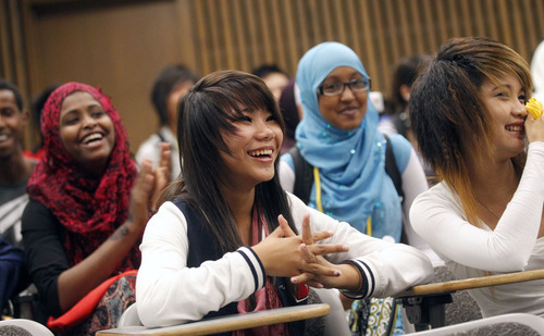 Al Hartmann     The Salt Lake Tribune High school students react to the physics workshop Friday given by University of Utah lecture demonstration specialist Adam Beehler during the 2nd annual Refugee Youth Conference that brought together more than 200 refugee students from Granite, Canyons and Salt Lake school districts to learn about the importance of education, particularly higher education.
