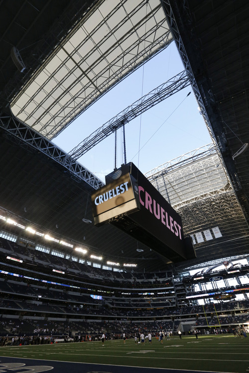 Sharon Ellman  |  The Associated Press The most compelling thing to keep an eye on at Cowboys Stadium this season is the big ol' videoboard.