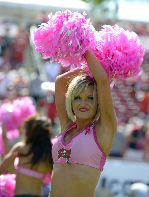 Tampa Bay Buccaneers cheerleaders perform during the first half of an NFL football game against the Kansas City Chiefs, Sunday, Oct. 14, 2012, in Tampa, Fla. (AP Photo/Phelan M. Ebenhack)