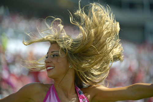 A Tampa Bay Buccaneers cheerleader performs during the second half of an NFL football game against the Kansas City Chiefs, Sunday, Oct. 14, 2012, in Tampa, Fla. (AP Photo/Phelan M. Ebenhack)