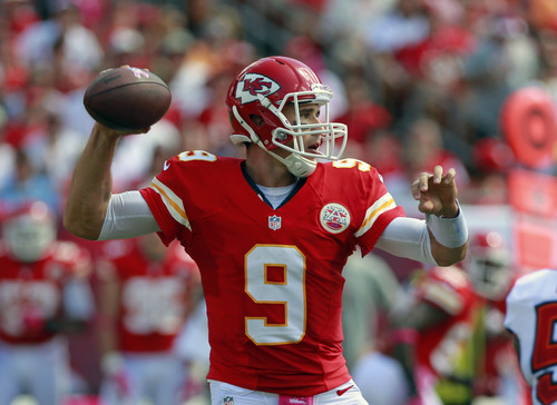 Kansas City Chiefs quarterback Brady Quinn throws a pass against the Tampa Bay Buccaneers during the first half of an NFL football game, Sunday, Oct. 14, 2012, in Tampa, Fla. (AP Photo/John Raoux)