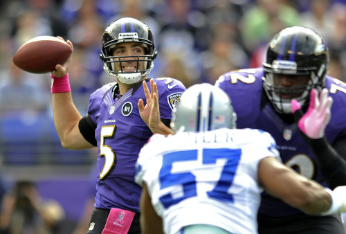 Baltimore Ravens quarterback Joe Flacco, left, looks for a receiver as he is pressured by Dallas Cowboys outside linebacker Victor Butler in the first half of an NFL football game in Baltimore, Sunday, Oct. 14, 2012. (AP Photo/Gail Burton)