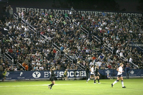 Paul Fraughton | Salt Lake Tribune  A packed  stadium watches the BYU women's soccer team.BYU played Utah Valley University at BYU's field.   Thursday, September 27, 2012