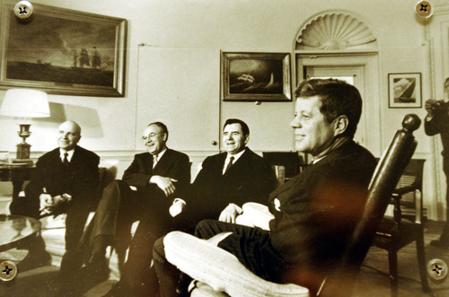 This is a John F. Kennedy Library and Museum handout photo provided Tuesday, Oct. 1. 2002, showing President Kennedy, right, meeting with Soviet Ambassador Andrei Gromyko, second from right, and other Soviet officials in the Oval Office in Washington D.C. on Oct. 18, 1962.  (AP Photo/John F. Kennedy Library and Museum)