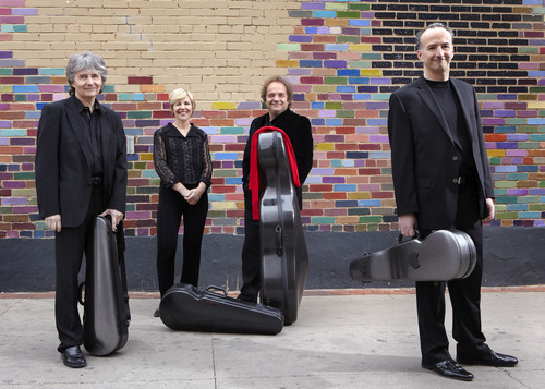 Courtesy Keith Saunders Takács Quartet members Károly Schranz on second violin, left, Geraldine Walther on viola, András Fejér on cello and Edward Dusinberre on first violin played Libby Gardner Hall Oct. 11 in a concert presented by the Chamber Music Society of Salt Lake City.