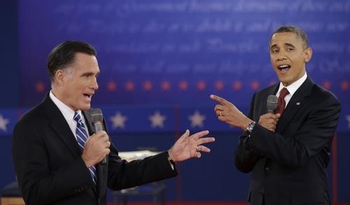 President Barack Obama and Republican presidential nominee Mitt Romney exchange views during the second presidential debate at Hofstra University, Tuesday, Oct. 16, 2012, in Hempstead, N.Y. (AP Photo/David Goldman)