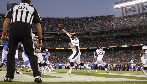 Denver Broncos quarterback Peyton Manning (18) throws a pass against the San Diego Chargers during the first half of an NFL football game Monday, Oct. 15, 2012, in San Diego. (AP Photo/Lenny Ignelzi)