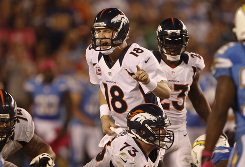 Denver Broncos quarterback Peyton Manning during a National Football League game  against the San Diego Chargers Monday, Oct. 15, 2012 in San Diego.  (AP Photo/Lenny Ignelzi)
