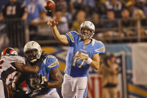San Diego Chargers quarterback Philip Rivers during a National Football League game against the Denver Broncos Monday, Oct. 15, 2012 in San Diego.  (AP Photo/Lenny Ignelzi)