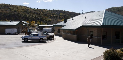 Leah Hogsten  |  The Salt Lake Tribune Kamas Hatchery Director Ted Hallows shows off the new $1.3 million filtering system Wednesday, October 3 2012 in Kamas. After the scare of a possible whirling disease exposure in 2010, the Kamas Fish Hatchery was outfitted with a two-stage filtering system. The new filter and UV light system makes sure the spring-fed water for the hatchery is always free of disease. The hatchery will get back into the business of growing fish, namely trout, in November.  Wednesday, October 3 2012 in Kamas.