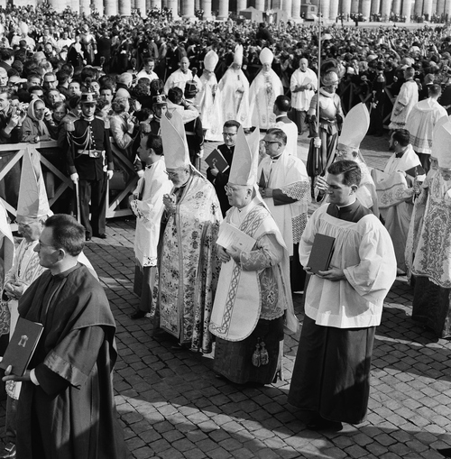 Cardinal Gregory Peter Agagianian, left, prefect of the Congregation for the Propagation of the Faith, and Cardinal Francis Spellman, right, Archbishop of New York, move in the procession at the opening of the Ecumenical Council in St. Peter's Basilica, in Vatican City, Oct. 11, 1962. (AP Photo)
