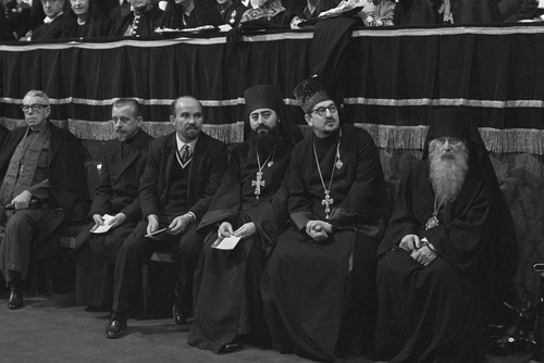 A group of non-Catholic observer-delegates attends the closing ceremonies of the Roman Catholic Ecumenical Council's first phase, in Saint Peter's Basilica, Dec. 8, 1962, in Vatican City. Second and third from right are the Russian Orthodox Church's unidentified observer-delegates to the Council; Vitali Borovoi, the Orthodox Church's representative at the Geneva headquarters of the World Council of Churches; and Vladimir Kotliarow, a member of the Orthodox Church's mission in Jerusalem. (AP Photo/Girolamo Di Majo)