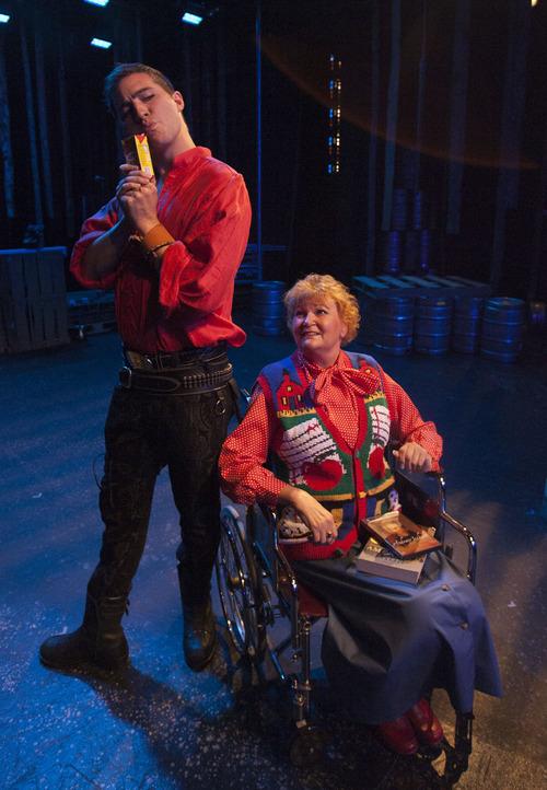 Steve Griffin |  The Salt Lake Tribune J.C. Ernst, as Andrew Jackson, and Annette Wright, as the Storyteller, rehearse for Salt Lake Acting Company's