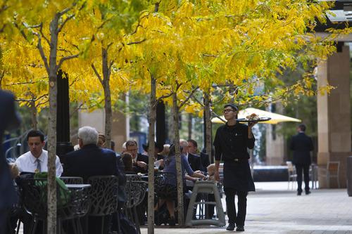 Chris Detrick  |  The Salt Lake Tribune Shoppers eat and walk around City Creek Center in Salt Lake City Tuesday October 16, 2012.
