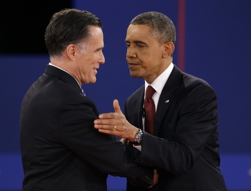 President Barack Obama shakes hands with Republican presidential nominee Mitt Romney at the end of the second presidential debate at Hofstra University, Tuesday, Oct. 16, 2012, in Hempstead, N.Y. (AP Photo/David Goldman)