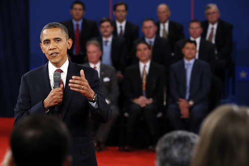 President Barack Obama answers a question during the second presidential debate at Hofstra University, Tuesday, Oct. 16, 2012, in Hempstead, N.Y. (AP Photo/Pool, Rick Wilking)