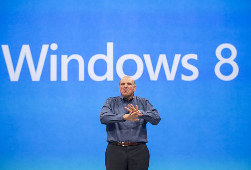 FILE - In this Monday, June 18, 2012, file photo, Microsoft CEO Steve Ballmer comments on the Windows 8 operating system. The PC industry is in a slump, as consumers show more interest in tablet computers and smartphones. Officially, PC makers say they expect Windows 8, which launches Oct. 26, 2012, to get buyers to open their wallets, but industry watchers and analysts are skeptical.  (AP Photo/Damian Dovarganes, File) With Microsoft on the verge of releasing its biggest software product in years, which CEO Steve Ballmer showcased in June, the company's lackluster financial results Thursday underscored how badly the company needs it to deliver.