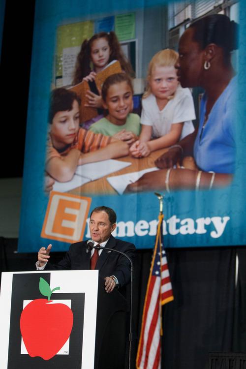 Trent Nelson  |  The Salt Lake Tribune Utah Gov. Gary Herbert speaks at the Utah Education Association (UEA) convention Thursday, October 18, 2012 in Sandy, Utah.