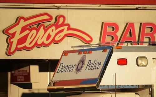 RJ Sangosti | The Denver Post Denver police and fire officials are at the scene of an arson-homicide investigation after five bodies were found inside a bar, Wednesday, October 17, 2012, at at Fero's Bar and Grill, 351 S. Colorado Blvd.