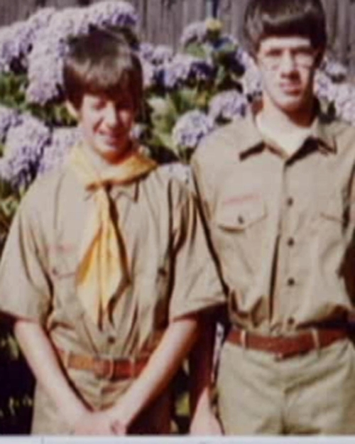 This family photo provided by Tom Stewart shows him, right, and his younger brother Matt, left, in their scout uniforms. The brothers settled out-of-court after suing the Boy Scouts in 2003 for abuse they had suffered at the hands of one of their Scoutmasters. The Stewarts are angry that the Boy Scouts of America have fought to keep confidential thousands of files the organization has kept since the early 1900s on suspected pedophiles within their ranks. The Stewarts say releasing the files decades ago would have helped stop pedophiles. (AP Photo/Courtesy Tom Stewart)