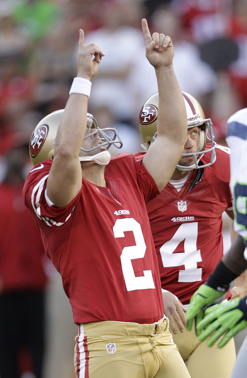 San Francisco 49ers place kicker David Akers (2) celebrates after making a field goal during the first quarter of an NFL football game against the Seattle Seahawks in San Francisco, Thursday, Oct. 18, 2012. (AP Photo/Ben Margot)