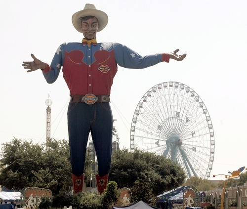 FILE - In this Sept. 27, 2007 file photo, Big Tex stands is ready to greet fairgoers at the State Fair of Texas in Dallas. Big Tex, the metal cowboy whose slow drawl of