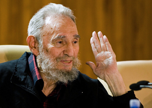 FILE - In this Feb. 10, 2012 file photo released by the state media website Cubadebate, Cuba's leader Fidel Castro speaks during a meeting with  intellectuals and writers at the International Book Fair in Havana, Cuba. The rumor mill surrounding Castro's health continued to churn Friday, Oct. 19, 2012, despite a letter from the aging Cuban revolutionary published by state-media and denials by relatives that he is on death's door. The latest spark to set the Internet aflame are claims by a Venezuelan doctor that Castro, 86, had suffered a massive stroke, was in a vegetative state, and had only weeks to live.  (AP Photo/Cubadebate, Roberto Chile, File)
