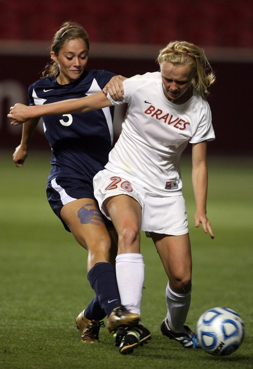 Kim Raff | The Salt Lake Tribune Bountiful player (right) Abby McConkie and Bonneville player Sienna Thornock compete for the ball during the 4A girls state championship game at Rio Tinto Stadium in Sandy, Utah on October 19, 2012. Bonneville went on to win the game 1-0.
