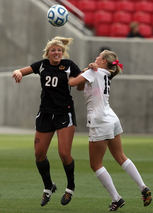 Kim Raff | The Salt Lake Tribune Alta player (right) Sydney Fitzpatrick and Viewmont player Montana Tanner battle for a head ball during the 5A girls state championship game at Rio Tinto Stadium in Sandy, Utah on October 19, 2012. Viewmont went on to win the game 1-0.