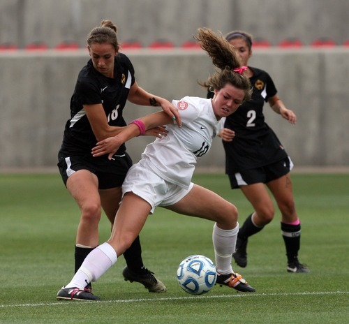 Kim Raff | The Salt Lake Tribune Alta player (right) Shaylin Orr and Viewmont player Laura Essig battle for the ball during the 5A girls state championship game at Rio Tinto Stadium in Sandy, Utah on October 19, 2012. Viewmont went on to win the game 1-0.