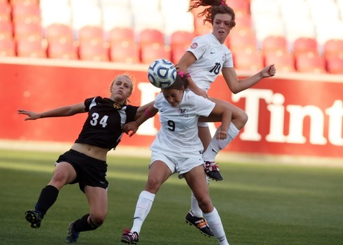 Kim Raff | The Salt Lake Tribune Alta players (middle) Megan Urrutia and Shaylin Orr compete with  Viewmont player Karrie Pead for a ball in the air during the 5A girls state championship game at Rio Tinto Stadium in Sandy, Utah on October 19, 2012. Viewmont went on to win the game 1-0.