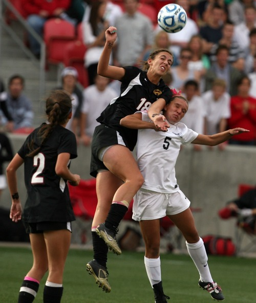 Kim Raff | The Salt Lake Tribune Alta player (right) Allie Millerberg and Viewmont player Laura Essig battle for a head ball during the 5A girls state championship game at Rio Tinto Stadium in Sandy, Utah on October 19, 2012. Viewmont went on to win the game 1-0.