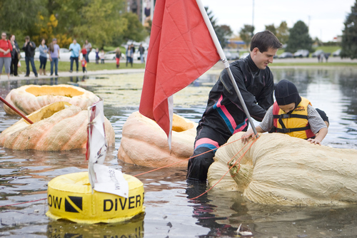 Keith Johnson |  The Salt Lake Tribune Kyle Clark puts his sons Brent and Bryce into the giant pumpkin he grew to paddle across Sugar House Park pond during the 2nd annual Ginormous Pumpkin Regatta October 20, 2012 in Salt Lake City. Some of the pumpkins raced by the costumed participants weighed over 1,000 pounds. Kyle has the state record for growing the largest watermelon at 130 pounds.