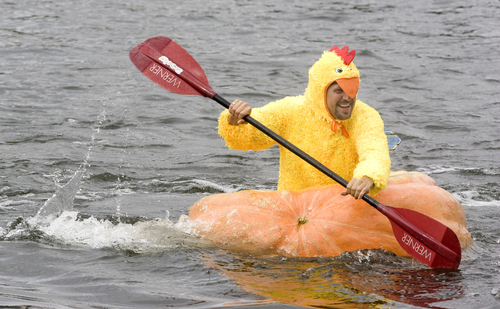 Keith Johnson |  The Salt Lake Tribune Lance Heaton races across the pond at Sugar House Park during the 2nd annual Ginormous Pumpkin Regatta October 20, 2012 in Salt Lake City. Participants in costume raced giant pumpkins -- some weighing over 1,000 pounds -- across the pond.