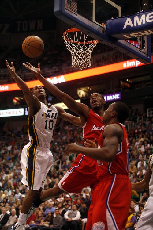 Ashley Detrick     The Salt Lake Tribune Alec Burks goes up for a shot in the first half of the game against the Clippers on Saturday, Oct. 20, 2012 at Energy Solutions in Salt Lake City.