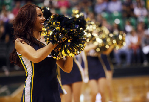 Ashley Detrick     The Salt Lake Tribune The Jazz cheerleaders perform during a time out in the first half of the game against the Clippers on Saturday, Oct. 20, 2012 at Energy Solutions in Salt Lake City.